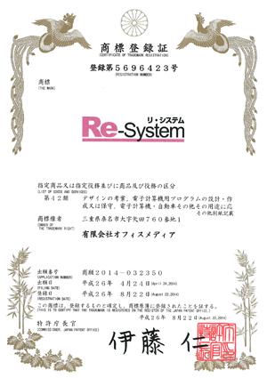 「リ・システム」商標登録証